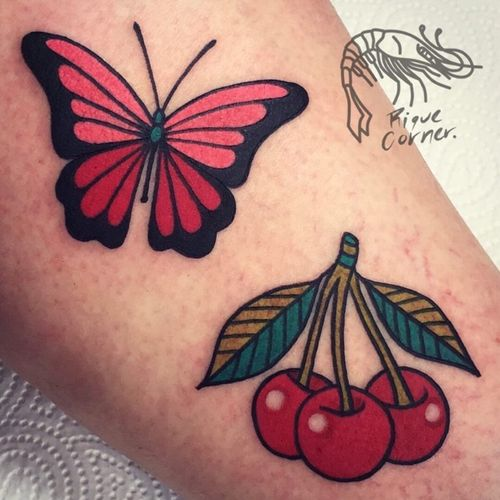 #traditional #solid #butterfly #cherry #riquecorner #smalltattoo #tattooartist