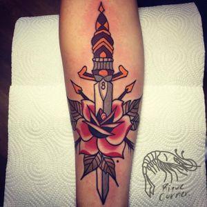 #traditional #riquecorner #dagger #rose #tattooartist