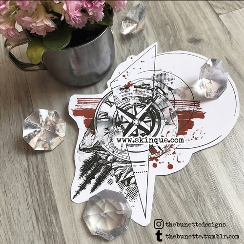For commissions and more design www.skinque.com Compass with landscape in trash polka style #trashpolka #landscape #mountain #mountains #tree #abstract #clock #compass #time #travel #tattoodesign #tattooart