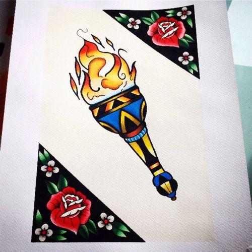 #torchtattoo #tattooflash #traditionaltattoo #roses #dreamtattoo