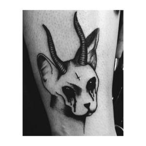 Demonic cat #sphinx #blackAndWhite #blackworktattoo #torontotattoo #toronto #myart #myartwork #mydesign #occult #occulttattoo