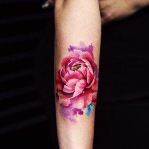 Beautiful #peonytattoo #peony #pinkflower #watercolor