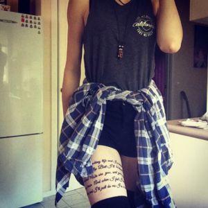 Spiral script on my thigh! Hopsin ill mind 7 👊🏼