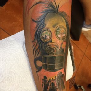 gas mask tattoo reslisted in two sessions #bishopmagi #eternalink #Nicaraguatattoo #JulioBlandontattooartist