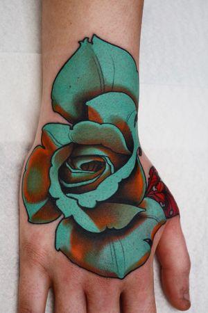 Rose hand! #rose #handtattoo #tattoodoambassador