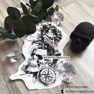 For commissions and more designs www.skinque.com #skull #skulls #raven #bird #trashpolka #abstract #tattoo #tattooart #life #death #nature #art