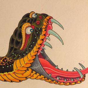 Snake original art done at #HandcraftedTattooAndArtGallery