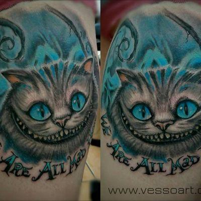 #aliceinwonderland #AliceinWonderlandtattoo #chesirecat #colourtattoo #colour #cat #realism #realistic #realistictattoo
