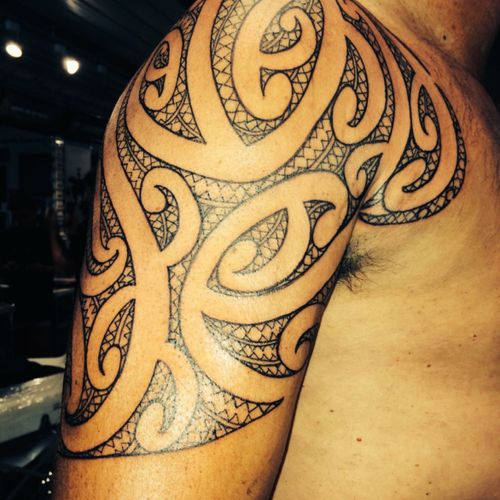 Shoulder piece #tamoko #maori #moko #whakapapa #maoritribal #maorishoulder #maori