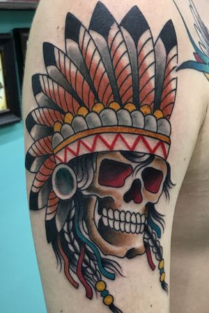 Neo-Traditional indian skull