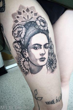 #frida #fridatattoo #mandala #mandalatattoo #ink #inkedgirls #dotwork #blackwork #portraittattoo #tattoodo #australia #adelaide