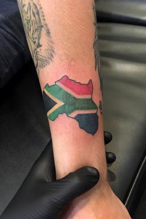 Africa and south african map on forearm
