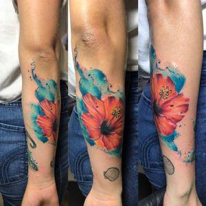 #hibiscus #hibiscustattoo #watercolortattoo #CostaRicaTattoo #jamessossatattooartist
