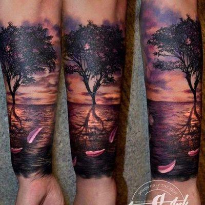 Sunset tree 😄 designed and tattooed by me #sunset #colortattoo #realistic #realism #femininetattoo