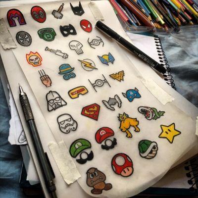 Nerds 😬 #galeriagralato #dascatattooshop #flash #flashtattoo #tattoo #nerd #geek #dc #marvel #starwars #supermario