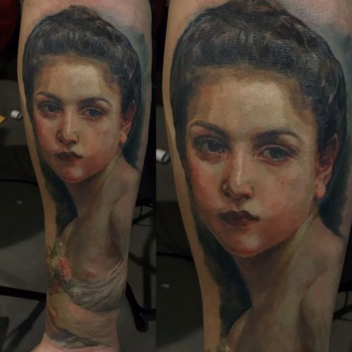 Portait tattoo from one of Adolphe William bouguereau paonting. #tattoo #portraittattoo #paintingtattoo