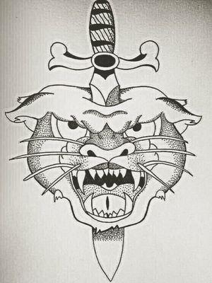 Tiger & Dagger.                                         #sketch #sketching #sketchtattoo #sketchbook #drawing #painting #followme #followforfollow #likeforlike #instaart #instalike #tattoo #oldschool #oldschooltattoo #traditionaltattoo #traditionaltattooit #original #blackandwhite #tiger #tigertattoo #dagger #daggertattoo #knife