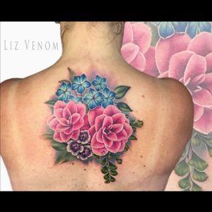 A #camellia tattoo i did at Leviathan tattoo gallery on Melbourne, Australia. #floral #flowers #watercolour #watercolor #botanical #vintage #realism #tattoosforwomen #feminine #tattoo #ink #girlswithink #canada #edmonton #lizvenom