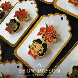 Limited run cloisonne pin set available at showpigeon.com/store. #pingame #merch #lapelpin