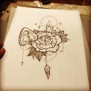 Love this one #planchet #rose #rosetattoo #tattooidea #candle #linework #neotraditional #crystals #art #tattooart