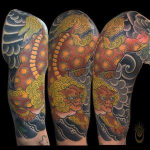 Foo Dog Tattoo  #japanesetattoo #foodog #peonytattoo #peony #japanese #tattoooftheday