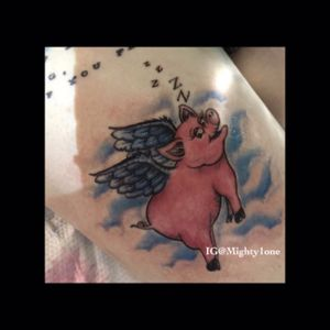 #whenpigsfly #pigtattoo #flyingpigpink #clouds #colortattoo #cutetattoos #tattoooftheday