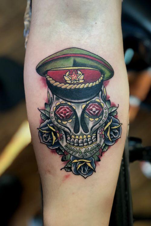 #Soviet #sugarskulltattoo today! Really swollen, fun piece! #sovietunion #russian #communist #custom #tattoo #baltimore #baltimoreart #baltimoretattooartist #mvbagallery