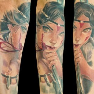 I went to @basilicatattoo a couple of weeks ago to finish my Princess Mononoke tattoo. Here is the finished product. I'm so happy with how it came out! 😍. The talented tattoo artist is @vicvivid and the beautiful original artwork is by Sakimichan on Deviantart. Now I just have to save to get the wolf on the other side to complete it.😁 @FKIrons #Halo2 @Fusion_Ink @fusionink_ca @ohanaorganics @sullenclothing #lasvegastattoos #tattoo #tattoos #ink #inked #art #artist #VicVivid #basilicatattoo #princessmononoke #studioghibli #studioghiblitattoo #girlswithtattoos #inkedgirl #inkedmag #skinartmag #animetattoo