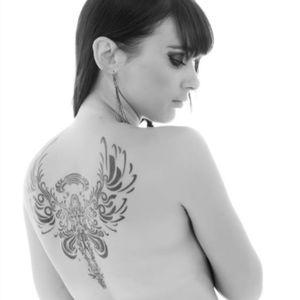 #angeltattoo #angel #angeltattoo #blackandgrey #backpiece #upperback