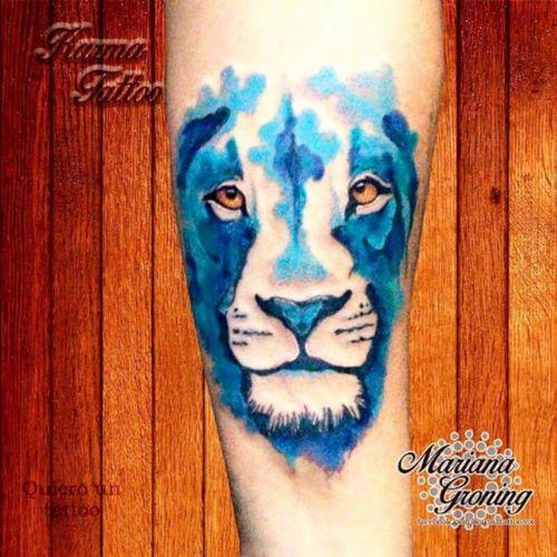 Watercolor lion tattoo  #tattoo #marianagroning #karmatattoo #cdmx #MexicoCity #watercolor #watercolortattoo #watercolortattooartist