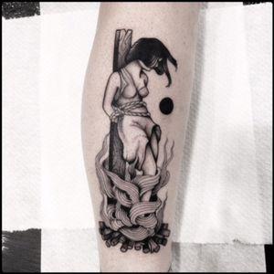 #black #witch #burning #tattoo #blackwork #totemica #ontheroad