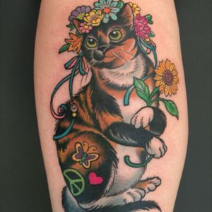 milky way the hippie kitty. Done by Kim Saigh @ Memoir Tattoo.