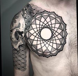 Added a chest mandala to pull things together #dotwork #blackwork #geometric #ornamental #mandala #geometrictattoo #mandalatattoo #skull #skulltattoo