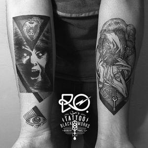 By RO. Robert Pavez • Split • #engraving #dotwork #etching #dot #linework #geometric #ro #blackwork #blackworktattoo #blackandgrey #black #tattoo