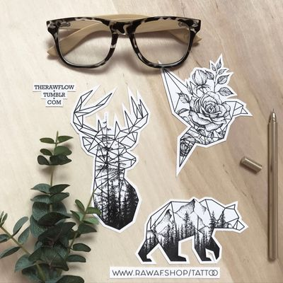 Geometric-dotwork animal tattoo designs up for grabs: www.rawaf.shop/tattoo #dotwork #geometric #dotworktattoo #geometrictattoo #bird #birdtattoo #deer #deertattoo #rose #roses #bear #beartattoo #mountain #mountains #origami #forest #nature