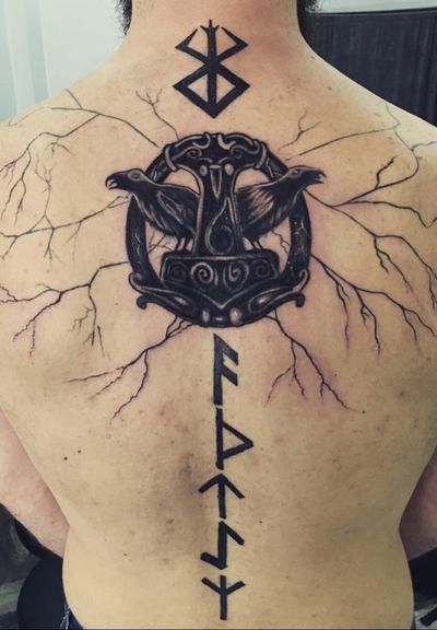 Norse theme #norse #norsemythology #thor #tattooed #mjolnir #thor #raven