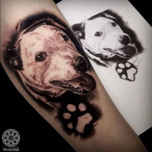 #furbaby #portrait #dogportrait #dog #pet #paw #pawprint #blackandgrey #realism excellent work by #tattooartist #coenmitchell @coenmitchell