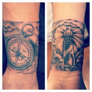 #compasstattoo #lighthouse #wavestattoo #blackcloudtattoo #bracelet #tattoo #blackandgreytattoo