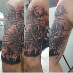 Reaper! The first addition to my first half sleeve #reaper #death #spain #sevilla #moon #graveyard