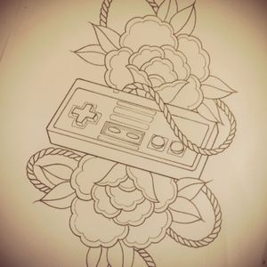 #Nintendo #control #flowers #tattoo #rop #tattooidea #tattoodesign