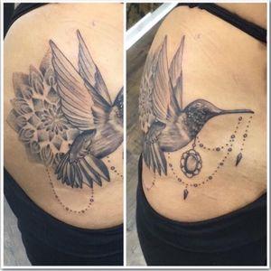 #blackandgrey #hummingbird #mandala #tattoo #tattoos #blackandgreytattoo