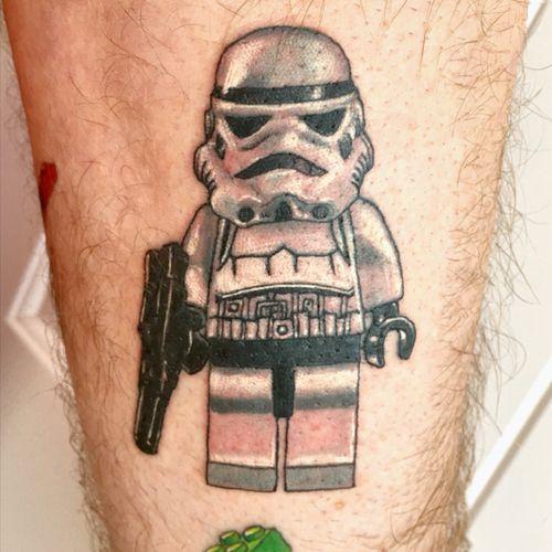 My husband's newest tattoo!! So freaking fun! #Lego #starwars #funtattoos