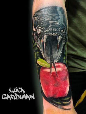 Snake and apple #Tattoodo #snake #snaketattoo #realistictattoo #realism #tattooartist #tattoooftheday #instatattoo #apple #color #ink #inked #sleeve #wip