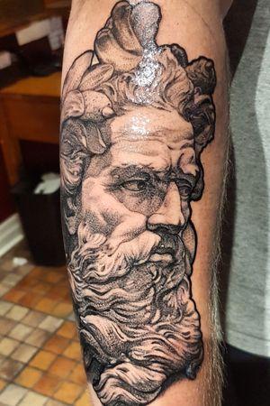 Poseidon Statue. Black and grey fine line portrait