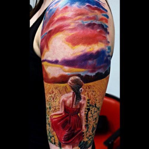 Sunset  done with starbritecolors  #sunset #tattooupperarm #beayty #color #realism #AlanRamirez #tatooartist
