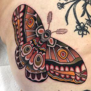 Moth tattoo on the leg  #tattoooftheday
