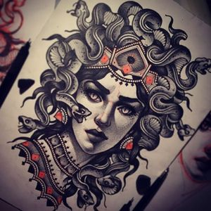 I'd like to have a neo-traditional medusa drinking coffee tattooed. #megandreamtattoo #neotraditional