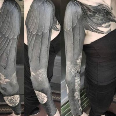 #crow #bird #wing #tree #flowers #sleeve and #chest #collarbone - #blackwork #black by #unknown #artist