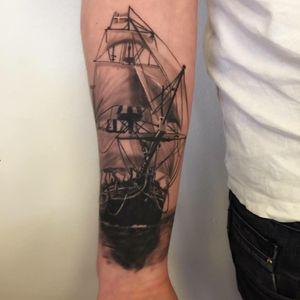 #healed#ship#shiptattoo#TallShip #cemvikink #vikinktattoo #fredericia #denmark#blackandgrey #blackandgreytattoo