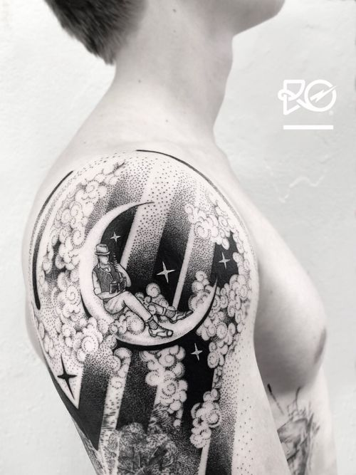 By RO. Robert Pavez • Magnusdreams ➖ Studio Zoi tattoo Stockholm 🇸🇪 • 2018  • #engraving #dotwork #etching #dot #linework #geometric #ro #blackwork #blackworktattoo #blackandgrey #black #tattoo #fineline